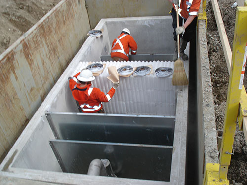 Below Ground Oil Water Separator Vault Installation